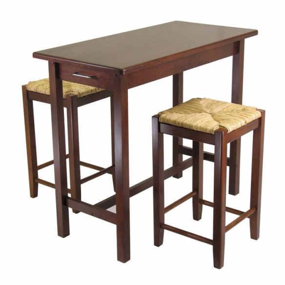 94374.jpg - 3PC Kitchen Island Table with 2 Rush Seat Stools; 2 cartons
